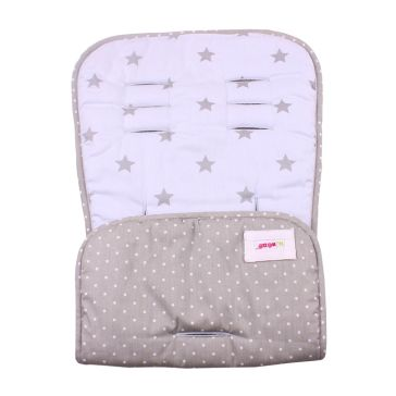 Κάλυμμα καροτσιού MINENE Pushchair & Car Seat Liner Light Blue Stars/Grey Dots